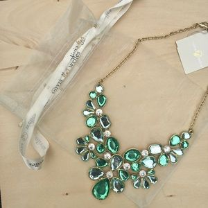 NWT Olivia Welles Makeda Stone Necklace Green Gold